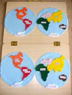 Felt Continents Map - Planisphere activity. An original project created with hinged boards...fold for easy storage and carrying.