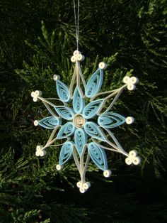 Quilled Snowflake ornament in soft pretty colors