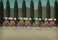art deco style cycling sports posters >>> This is another iconic depiction of the greatest cycle race in all the the world - and France of course. Mastered by the one and only Mark Fairhurst - of course. Thank you Mark. MAKETRAX.net - Bicycle ART