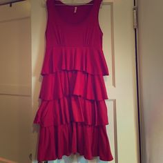 Red dress Red layered ruffled dress. Tank top. Size Small. Dresses