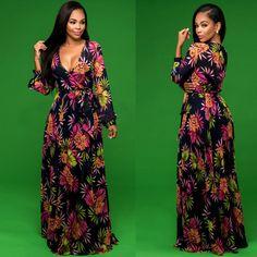 6b1639dc13 Deep-V Neck Long Sleeve Floral/ Gorgeous anthropologie Maxi Dress