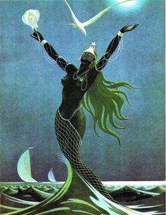 """Yemayá es la ortografía afrocubana Yoruba del Orisa Yemoja - diosa del río Ogun y todas las aguas, sobre todo el mar. Yemoja proviene de la frase yoruba """"Yeye emo eja"""", que significa: """". La madre cuyos hijos son los peces"""" Ella representa la maternidad, la crianza, el sustento, la curación y la abundancia; que está lleno de generosidad desinteresada."""