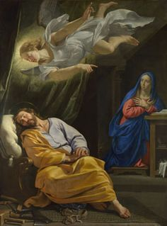 """michelangelogallery: """" Dream of Saint Joseph by Philippe de Champaigne 1643 National Gallery Nativities These events must have come as quite a shock for Joseph, thrust into the role of earthly father to the Son of God. Saint Matthew's gospel. Catholic Art, Catholic Saints, Religious Art, St Joseph, Philippe De Champaigne, Son Of David, National Gallery, Holy Mary, Blessed Virgin Mary"""