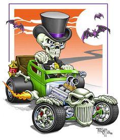 Hot Rod cartoon I did some time ago. Pen & ink, colored using Photoshop. Car Art, Art Cars, Cartoon Car Drawing, Cartoon Art, Cartoon Images, Rat Rod Trucks, Diesel Trucks, Dually Trucks, Big Trucks