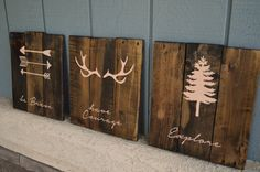 Pink - Reclaimed Wood Planked Art - Set of 3 - Rustic Nursery / Woodland - be Brave - have Courage - Explore - Arrows - Antlers - Pine Tree