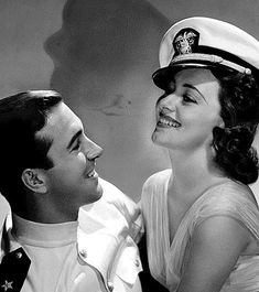 """olivia-de-havilland: """" maudlinandmagnificent: """" """"John Payne and Olivia de Havilland in Wings of the Navy """" """" This is one of my favourite photos of Olivia. Ronald Colman, Classic Hollywood, Old Hollywood, John Payne, Olivia De Havilland, Captain Hat, Vintage Fashion, Navy, Retro"""