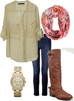 boots and scarf - Click image to find more Women's Fashion Pinterest pins