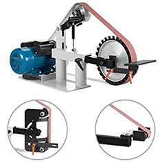 "V-MACH 2Hp Belt Grinder Constant Speed 2 X 82"" Belt Grinder Sander with 3 Grinding Wheel Belt Sander 12"" Wheel & Flat Platen Tool Rest (Constant Speed)"