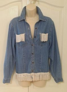 Jeans Jacket Womens Barage Co CA 16035 Handmade Crafted Fringe Small / Medium