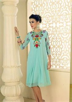 Kana Fashion Cool Sky Blue Georgette & Embroidery Designer Kurti - Buy Online in India for prices starting at Rs. 799 on Shimply.com. ✔ Fast Shipping ✔ 7 Days Return ✔ Genuine Products