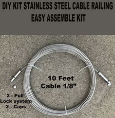 DIY Stainless Steel Cable Deck Porch Cable Railing 10ft + Kit Pull Lock System
