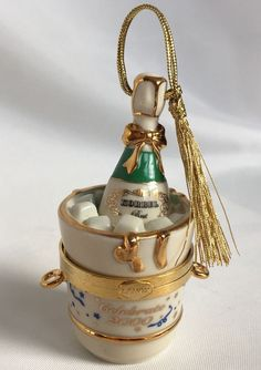 Lenox China CELEBRATE 2000 Trinket Treasure Box Xmas Ornament Korbel Champagne #Lenox #TrinketBox