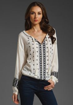 Love Sam Embroidered Hem Top.