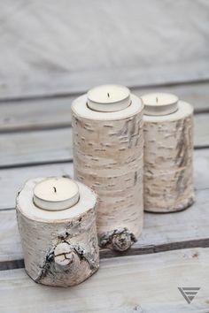 Upcykling - Świecznik brzozowy zestaw - PiatyElement - Świeczniki