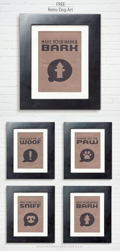 Black & white retro-graphic dog quotes. Free download #freedownload #freepetdesign