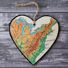 Appalachian Mountains Map Heart Christmas Ornament, Gift for Hiker, Vintage…