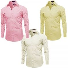 Pack Of 3 Off White, Pink And Yellow Formal Shirts For Men - Yellow-pink-offwhite