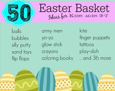 50 Non-Candy Easter Basket Ideas for ages 3-7 #easter