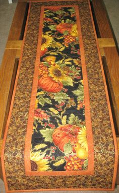 Autumn Table Runner Quilted fabric from by PicketFenceFabric, $33.95