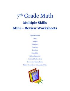This 24-page review was made for 7th grade pre-algebra students, but would be a great review for any grade! Skills covered are data, integers, fractions...