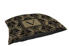 Manual Woodworkers and Weavers Damask Indoor/Outdoor Pet Bed, Monogrammed Letter V, Black and Gold * See this great product. (This is an affiliate link) #CatBedsandFurniture
