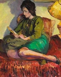 Portrait of Lindy Guinness - Duncan Grant 1965 British painter Duncan Grant, Duncan James, Dora Carrington, Vanessa Bell, Virginia Woolf, Guinness, Bloomsbury Group, Woman Reading, Reading Art