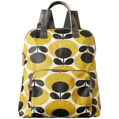 Buy Orla Kiely Matte Laminated Backpack, Mustard Online at johnlewis.com