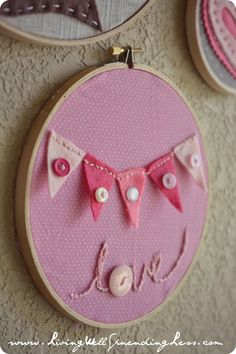 Valentine's Day Embroidery Hoop Art | #banner #embroidery #valentinesday