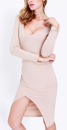 Get into the fall season in this apricot long sleeve split dress.