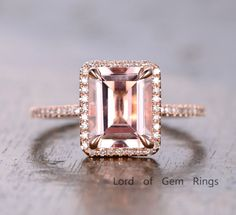 Diamond Halo 8x10mm Emerald Cut Morganite Engagement Wedding Ring 14K Rose Gold #LOGR #SolitairewithAccents