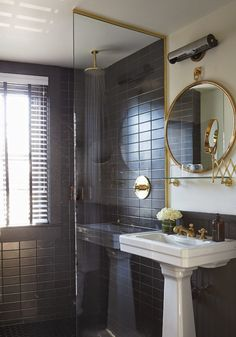 matte black tile /brass metal finish(The Dean Hotel, Providence)
