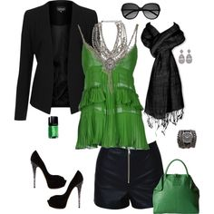 """Emerald Green & Black"" by style-inspiration-and-design on Polyvore"
