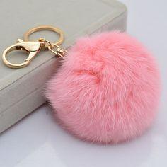 Fashion Cute Pink Ball Key Chain Key Ring For HandBag Pendant #Handmade
