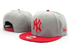 Casquette NY New York Yankees MLB Snapback Gris Rouge Casquette New Era Pas Cher
