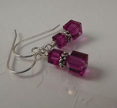 Petite Swarovski Crystal Fuchsia Pink Cube Earrings Sundance Inspirations ~em #SundanceInspirationsbyevasmim #DropDangle