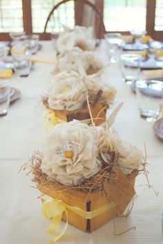 paper flowers in balsa wood berry baskets from Whimsy adding this project to my to do list. great idea for mother's day or bridal shower centerpieces or gifts. Western Wedding Centerpieces, Bridal Shower Centerpieces, Wedding Decorations, Table Decorations, Paper Flower Centerpieces, Table Centerpieces, Paper Flowers, Flower Arrangements, Centerpiece Ideas