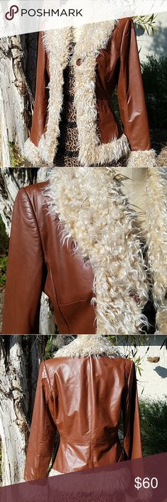 "Frenchi Curly Shearling Leather Jacket MEASUREMENTS:   Shld - Shld 15""  Armpit - Armpit 18""  Sleeve 24""  Waist 28""  Length 23""  CONDITION: Excellent SIZE: Small   Shell 100% Genuine Leather  Lining 100% Polyester  Soft brown leather with curly shearling collar, neckline, hem and cuffs Pockets for the hands Fully lined and 3 hook eye closures Frenchi Jackets & Coats"