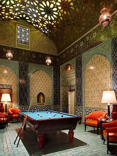 A billiard room to die for! - part of the Penthouse suite at the Fairmont Hotel in San Francisco.