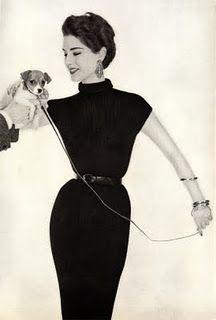 Retro Fashion Classic black dress and a Jack Russell Vintage Vogue, Vintage Glamour, Vintage Fashion 1950s, Vintage Couture, Vintage Beauty, Retro Fashion, Fifties Fashion, Trendy Fashion, Vintage Style