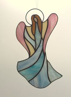 Angel de vidrio vidrieras suncatcher. Ángel de por AmberGlassArt