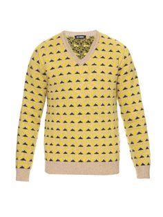 Graphic jacquard wool-knit sweater  | Raf Simons | MATCHESFASHION.COM