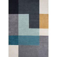 Tapis pour salon motifs geometriques TETRIS en Laine, par Unamourdetapis, Tapis moderne UN AMOUR DE TAPIS