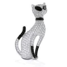 Sterling Silver Pave Diamond Cz Onyx Cat Pin Brooch $139