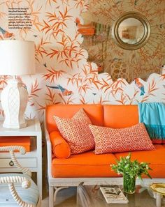 Such energy - love the orange couch