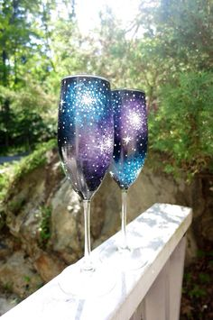 "Hand painted galaxy champagne flute  ""What did Dom Perignon say to fellow monks after he invented champagne? ... Come quickly, I am tasting the stars."""""