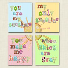 You are my sunshine 8x10 set- playroom prints- toddler girl- baby girl nursery- you make me happy- when skies are gray- baby shower gift. $34.00, via Etsy.