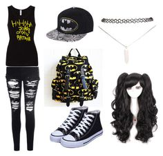 """""""BatMan"""" by emo-band-freak ❤ liked on Polyvore featuring Glamorous and Wet Seal"""