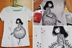 I'm so happy that acrylic paint works well on fabric horay! Last saturday I just tried to redraw my old illustration in this t-shirt. I just followed some tips and tutorials then dadah I'm wearing my artwork!:3 Tutorial here -> http://illustratedjournal.tumblr.com/post/6067457301/personalized-t-shirt-im-so-happy-that