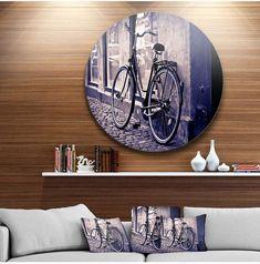 "Designart 'Classic Vintage City Bicycle' Disc Landscape Metal Circle Wall Art - 23"" x 23"" #metalwallart #metalart #purpleart #roundwallart #wallart #purpledecor #funkthishouse #afflnk"