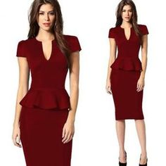 Cheap pencil dress, Buy Quality dresses ladies directly from China dress plus Suppliers: Women Plus Size Lace Decoration Sexy V Neck Short Sleeves Tunice Pencil Dress Ladies Retro High Waisted Elastic Bodycon Drrsses Summer Work Dresses, Party Dresses For Women, Cheap Dresses, Dresses Dresses, Formal Dresses, Deep V Dress, Bodycon Dress Parties, Clubwear, Peplum Dress